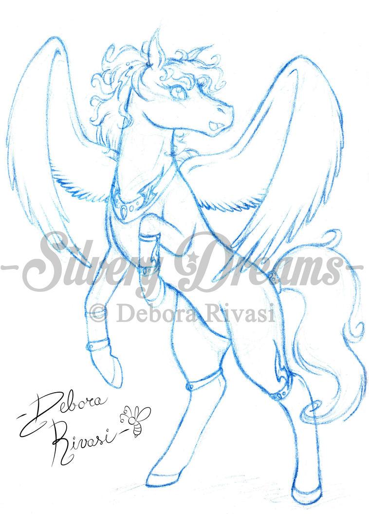 Blue sketch female pegasus ester by silverylugia on for Disegni cavalli alati