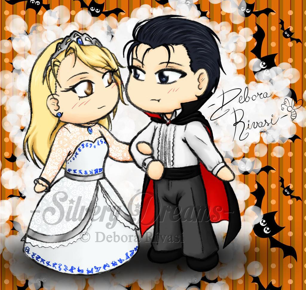 Color Halloween - Roy vampiro e Riza strega bianca by SilveryLugia