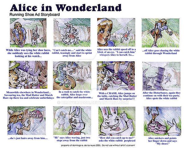 alice wonderland storyboard by braverazor