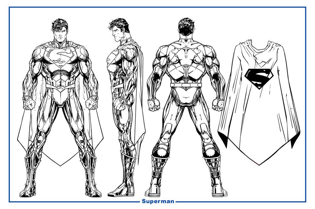 Superman Unchained Model Sheet BW by CapitalComicsStudios