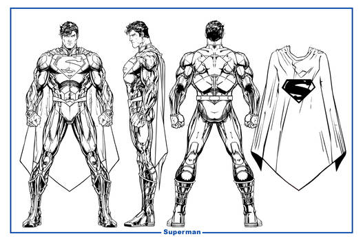 Superman Unchained Model Sheet BW