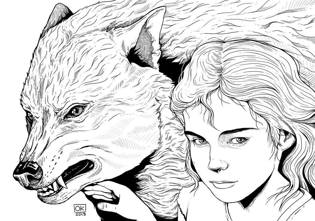 Arya and Nymeria by k0niczyna