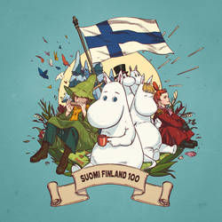 Suomi Finland 100 with Moomin by Hanseul-Kim