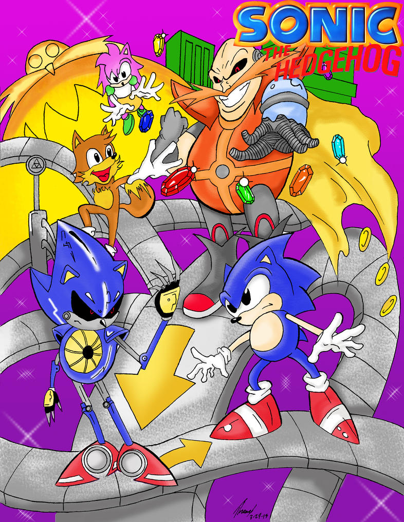Sonic CD pin-up cover by zeldalegends4525