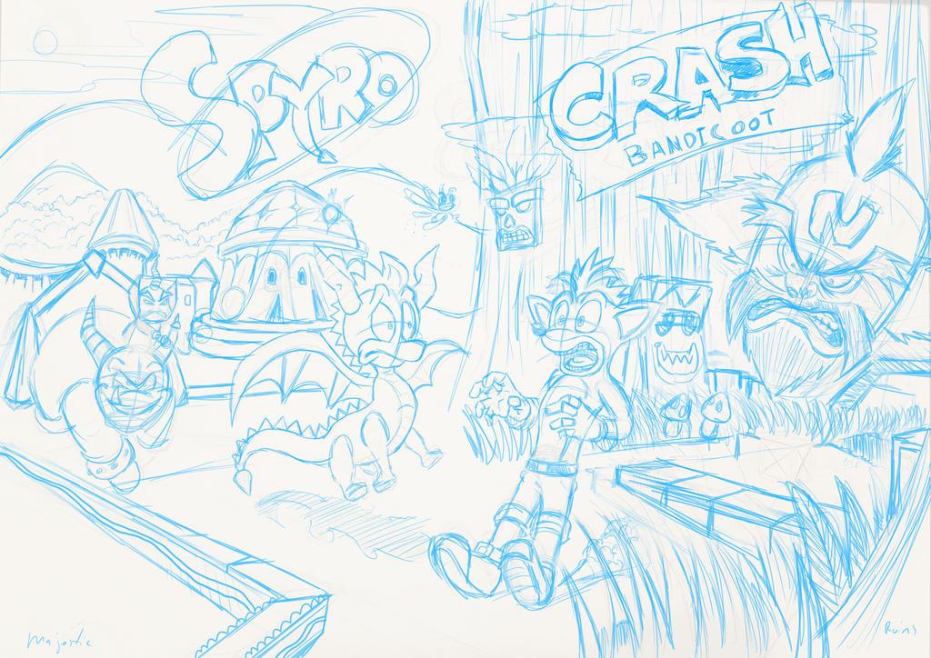Spyro and Crash ~ Pencils by zeldalegends4525