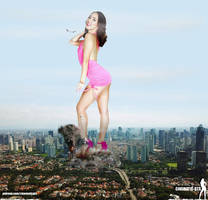 Giantess Jenna Sativa - sexy attack on city by Cinematic-GTS