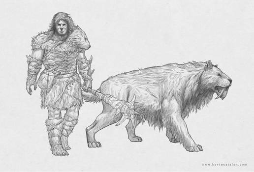 Aurorosi Warrior and Sabre Toothed Cat