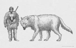 Aurorosi Warrior and Dire Wolf