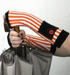 Black and Orange striped fingerless gloves