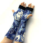 Blue, Urban Style Fingerless Gloves