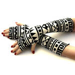 Black and White Tribal Fingerless Gloves