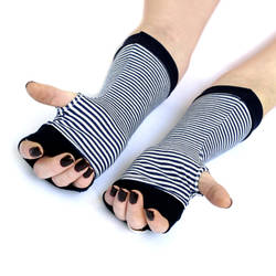 Pin Up striped fingerless gloves mittens with navy