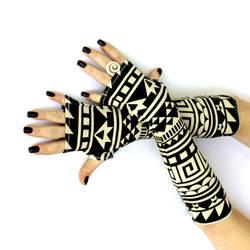 Black and Off White Tribal Fingerless Gloves