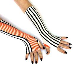 Black and Orange stripes Fingerless gloves