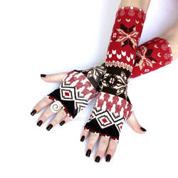 Red and Brown Winter Arm Warmers
