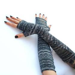 Long Shiny fingerless gloves