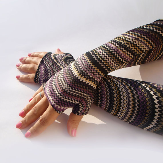 Long Shiny fingerless gloves, mittens, arm warmers