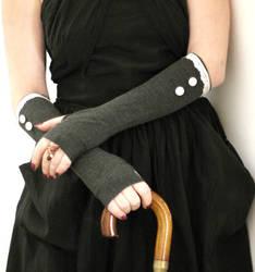 Elegant grey fingerless gloves with  white buttons