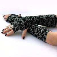 Elegant Black and White , Long Fingerless Gloves