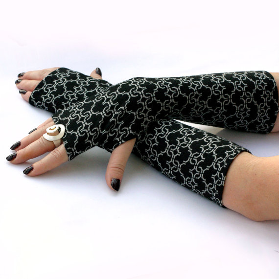 Elegant Black and White , Long Fingerless Gloves