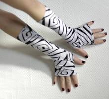 Black and White Spirals fingerless gloves