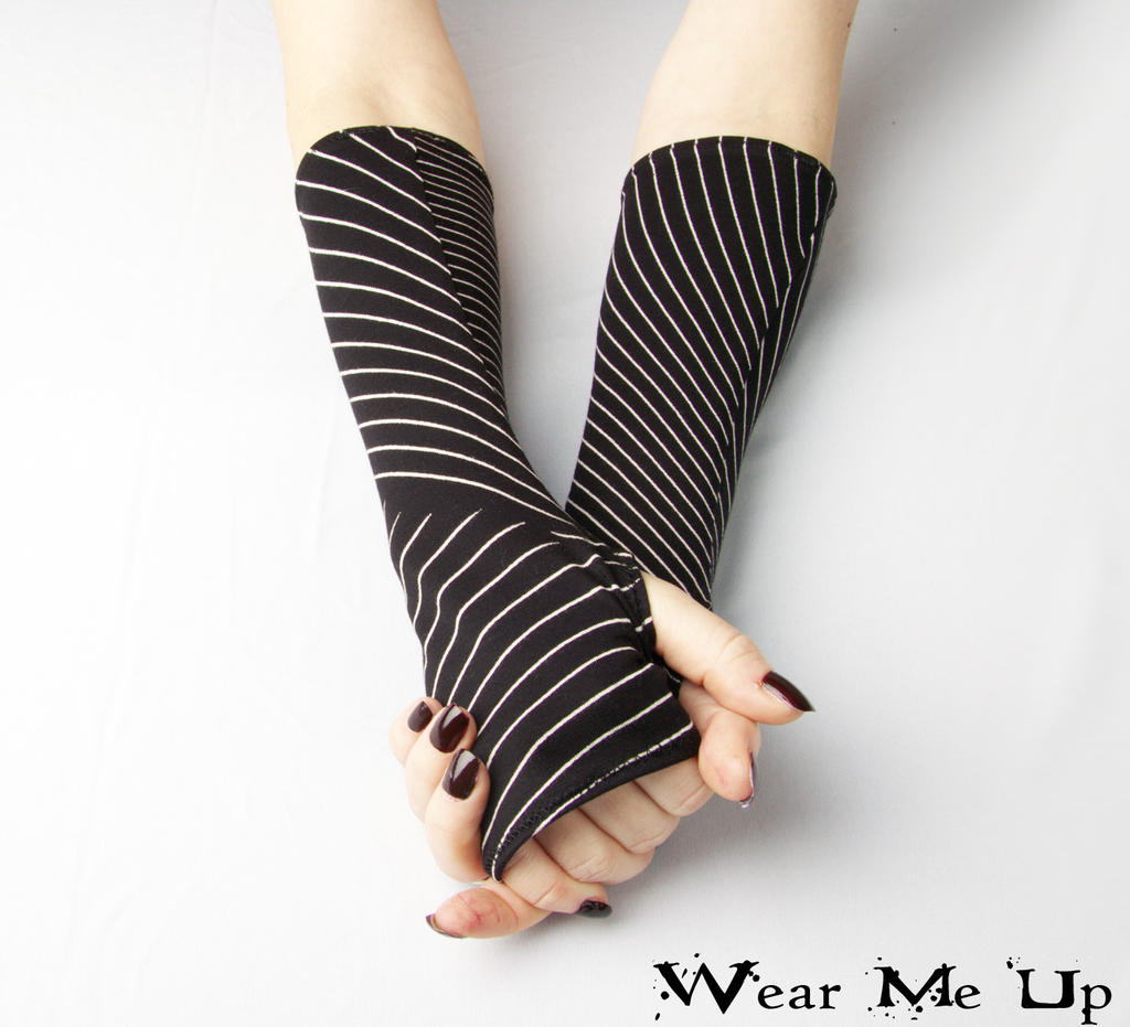 Black and White Striped fingerless gloves - Arm Wa