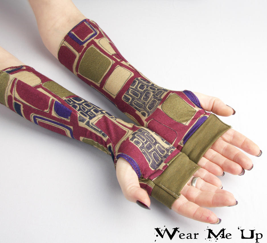 Red and Olive Fingerless Gloves, arm warmers by WearMeUp
