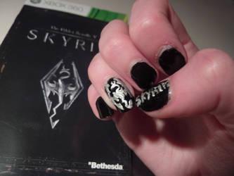 Skyrim nail art by hime-gleek-chan