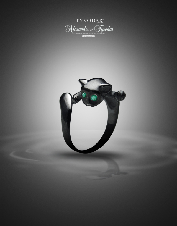 smaragdus cat ring made of black silver by tivodar66 on