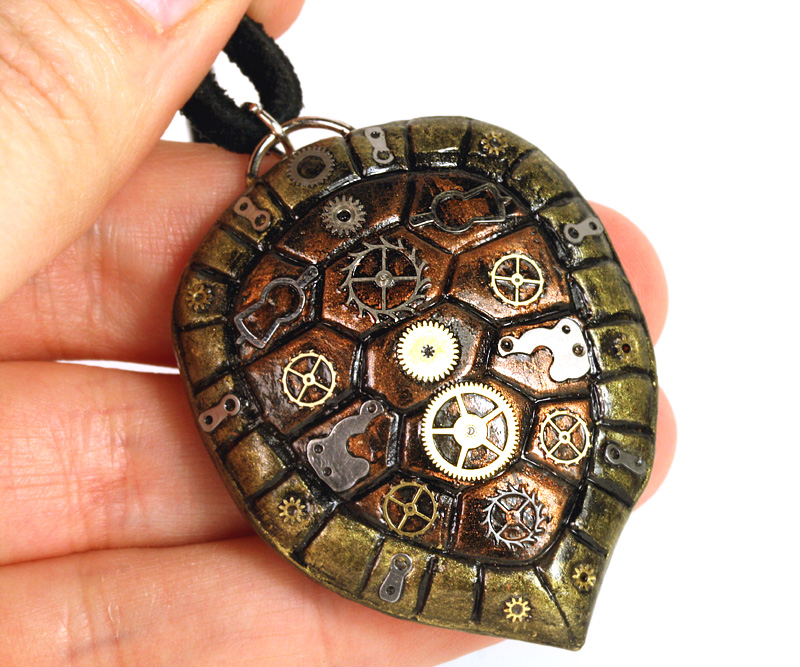 Gear turtle shell pendant by catharsisjb on deviantart for Real tortoise shell jewelry