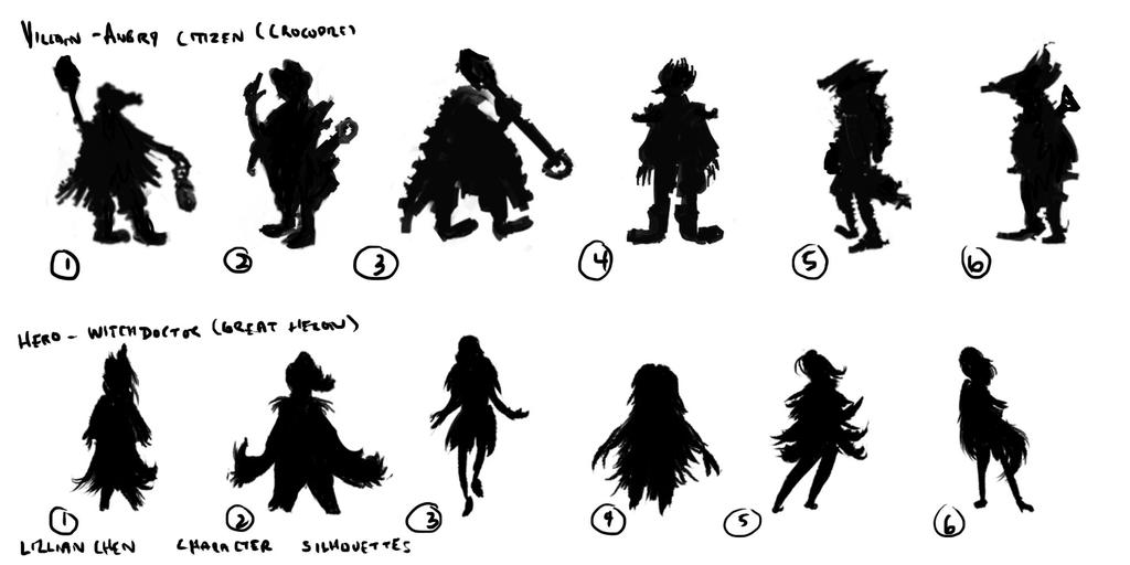 Swamp Characters - silhouettes by FlamesofFireLily