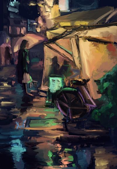 Rainy small market by FlamesofFireLily