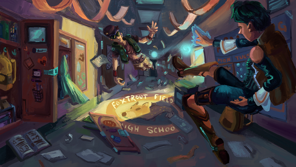 School Hall Fight by FlamesofFireLily