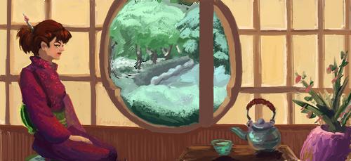 Winter  tea house by FlamesofFireLily