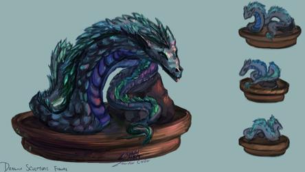 Snake Dragon Sculpture Figure by FlamesofFireLily