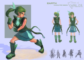 Earth character redesign - presentation by FlamesofFireLily