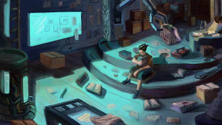 Workshop Bedroom - Illustration by FlamesofFireLily