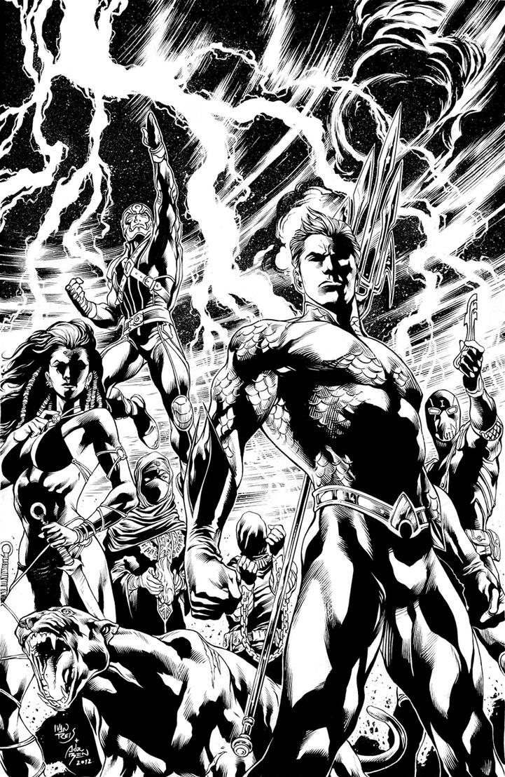 Inks - Aquaman #7 by Ivan Reis by adr-ben