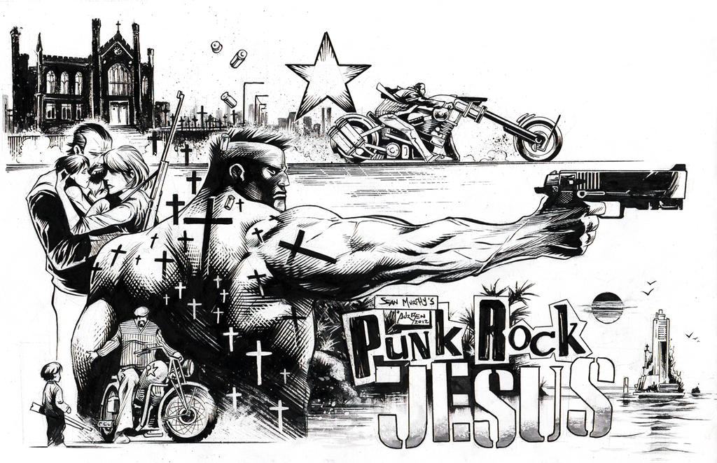 Inks - Punk Rock Jesus Pinup by Sean Murphy by adr-ben