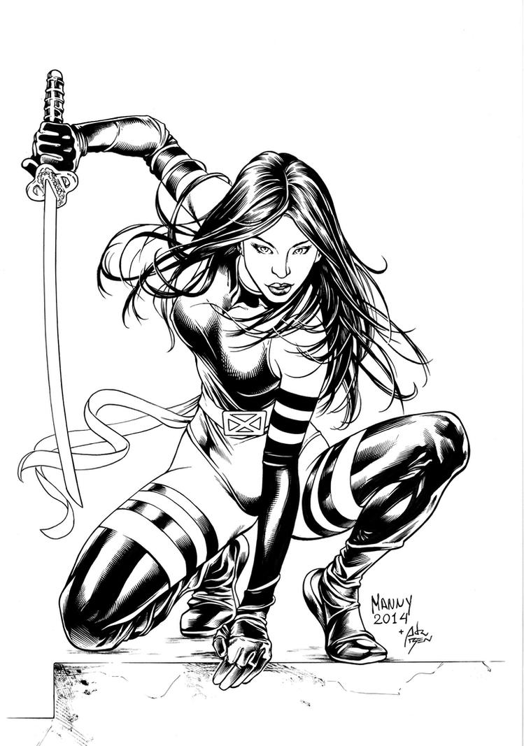 Inks - Psylocke by Manny Clark by adr-ben
