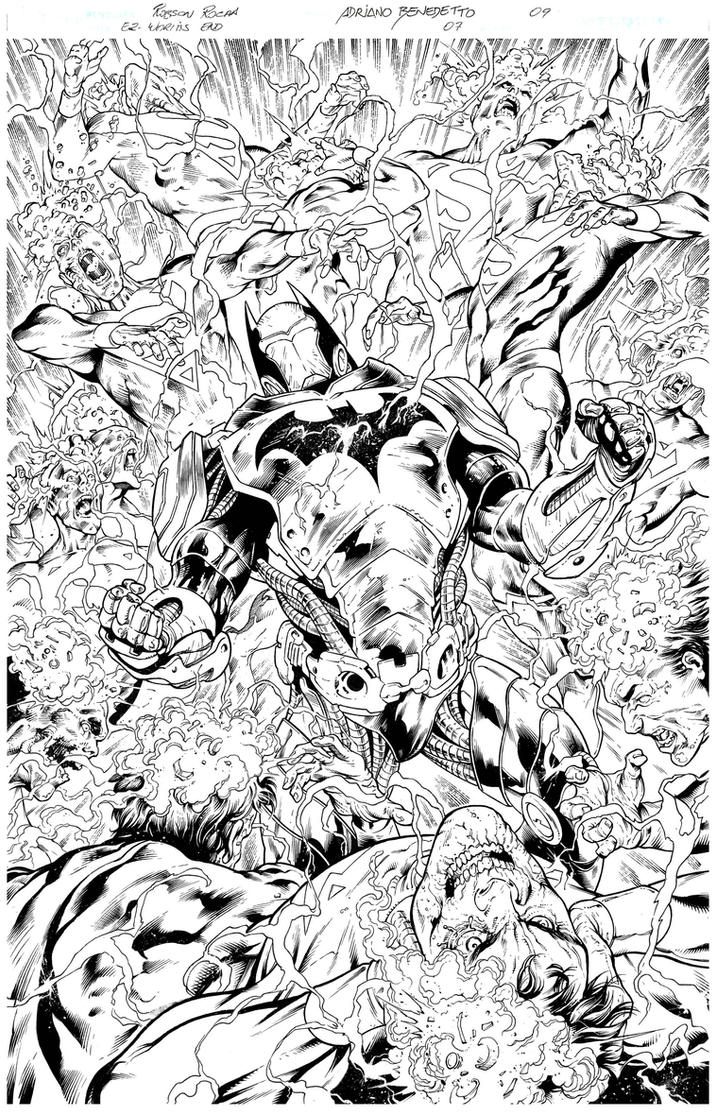 Inks - Earth 2 page by Robson Rocha by adr-ben