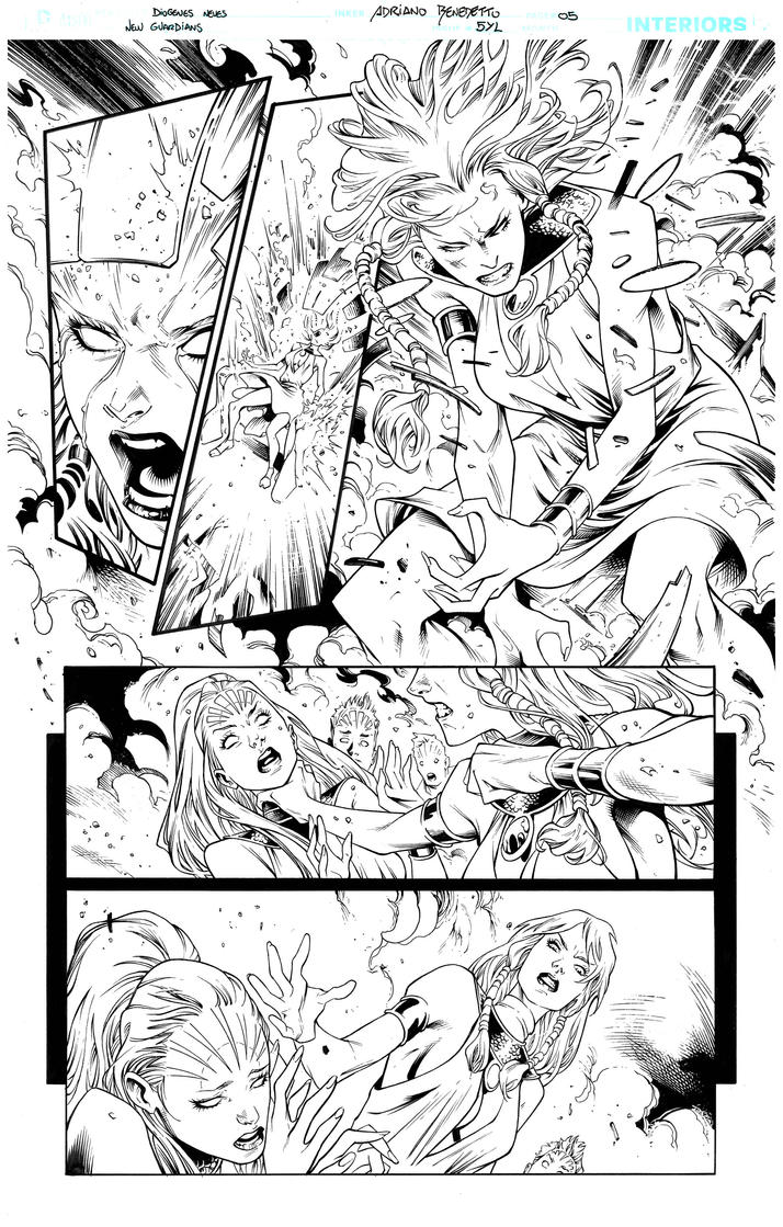 Inks - New Guardians page by Diogenes Neves by adr-ben