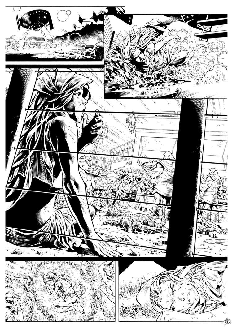 Inks: Starfire SecretOrigin Page by Paulo Siqueira by adr-ben