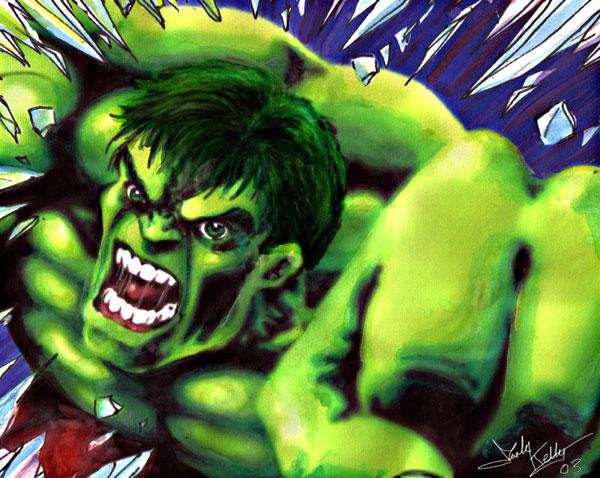Hulk watercolor by wobblyone
