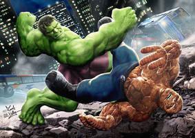Hulk Vs Thing by wobblyone