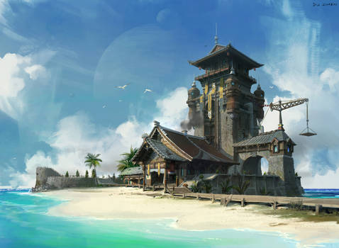 Beach and Chinese style architecture