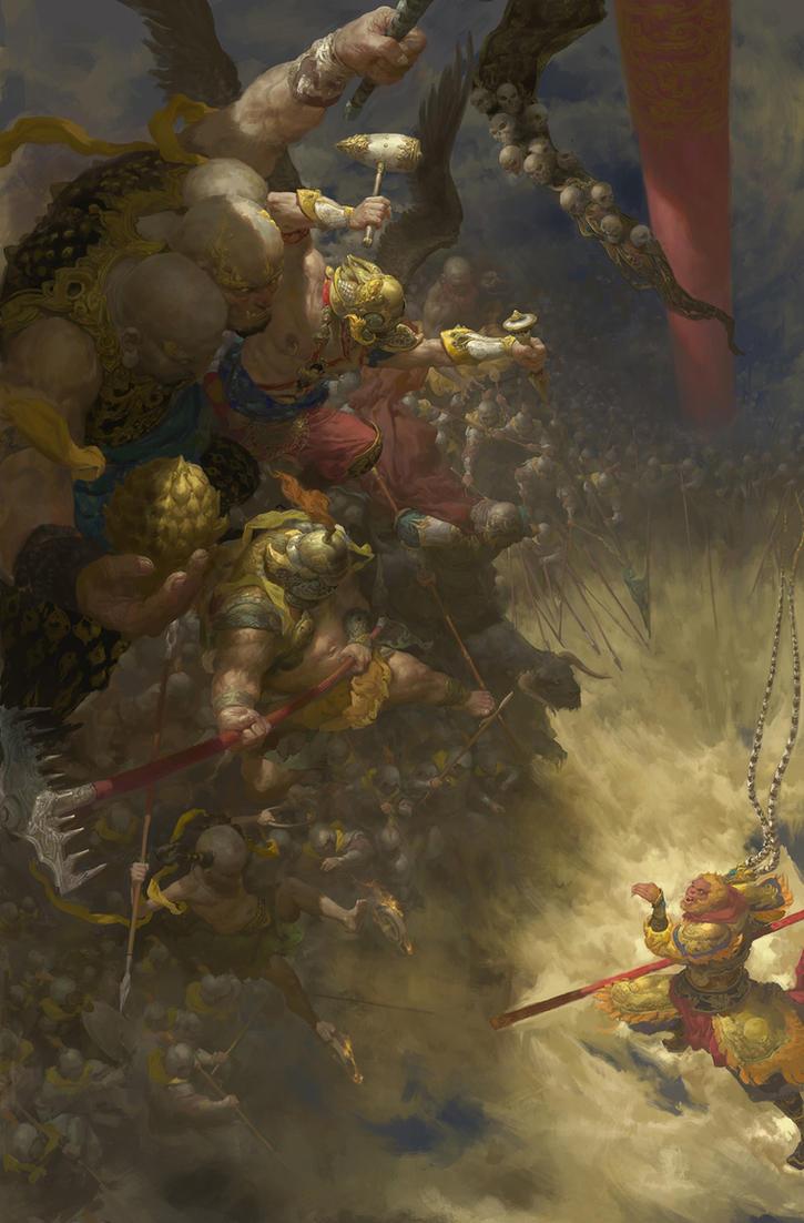 Sun Wukong vs Army of Heaven by fengua-zhong