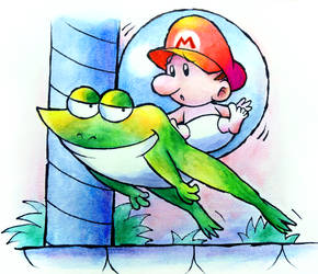 Frog Pirate and Baby Mario