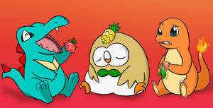 Day 6: Totodile Rowlet Charmander by DragonFruitJuice