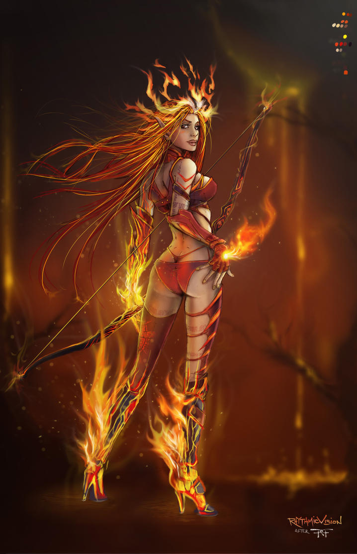 Hellfire ~ Vulcan Fae Archer (after Randy Green) by RhythmicVision
